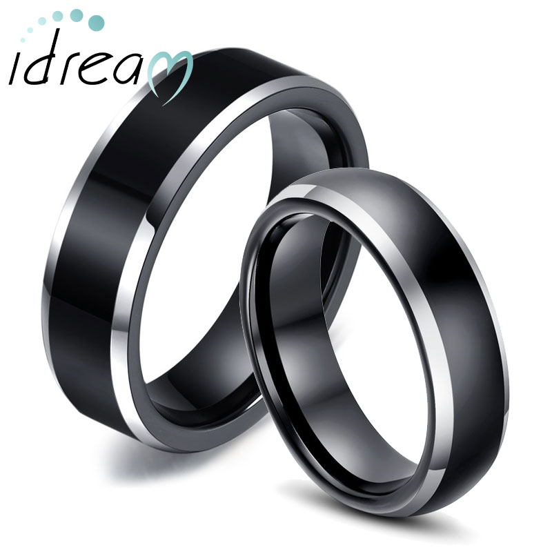 Two Tone Tungsten Wedding Bands Set For Women And Men Flat Domed