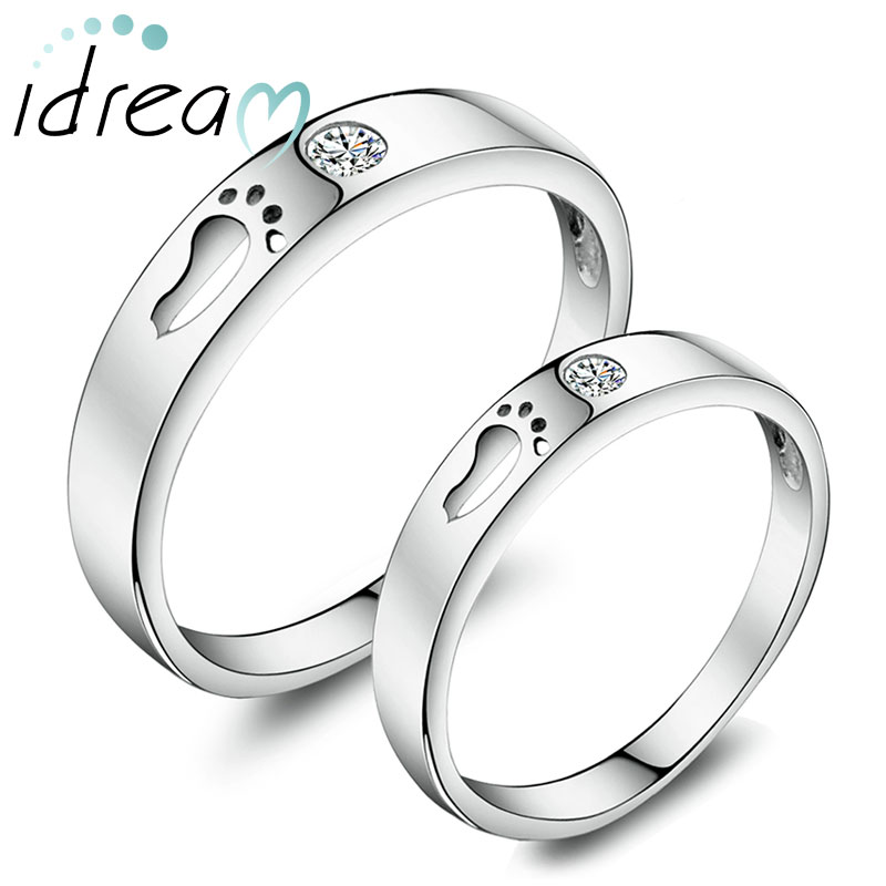 footprint promise rings for couples sterling silver cute open foot wedding ring band with cubic - Wedding Ring Bands For Her
