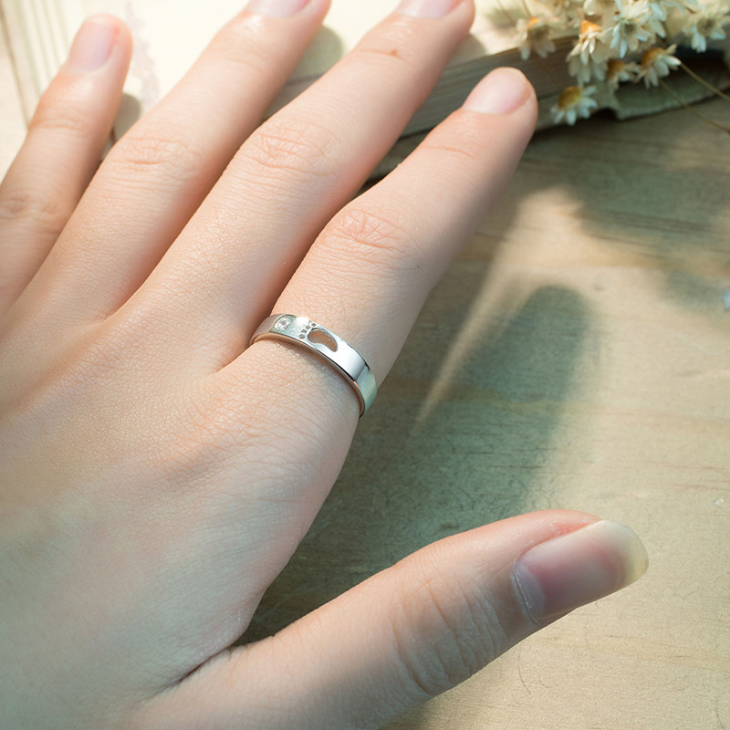 Footprint Promise Rings for Couples, Sterling Silver Cute Open ...