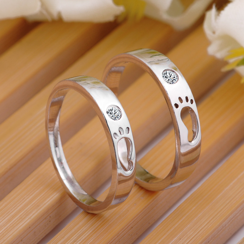 Footprint Promise Rings for Couples Sterling Silver Cute Open