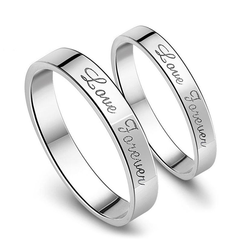 love forever engraved promise rings for couples personalized flat wedding ring band in 925 sterling - Engraved Wedding Rings