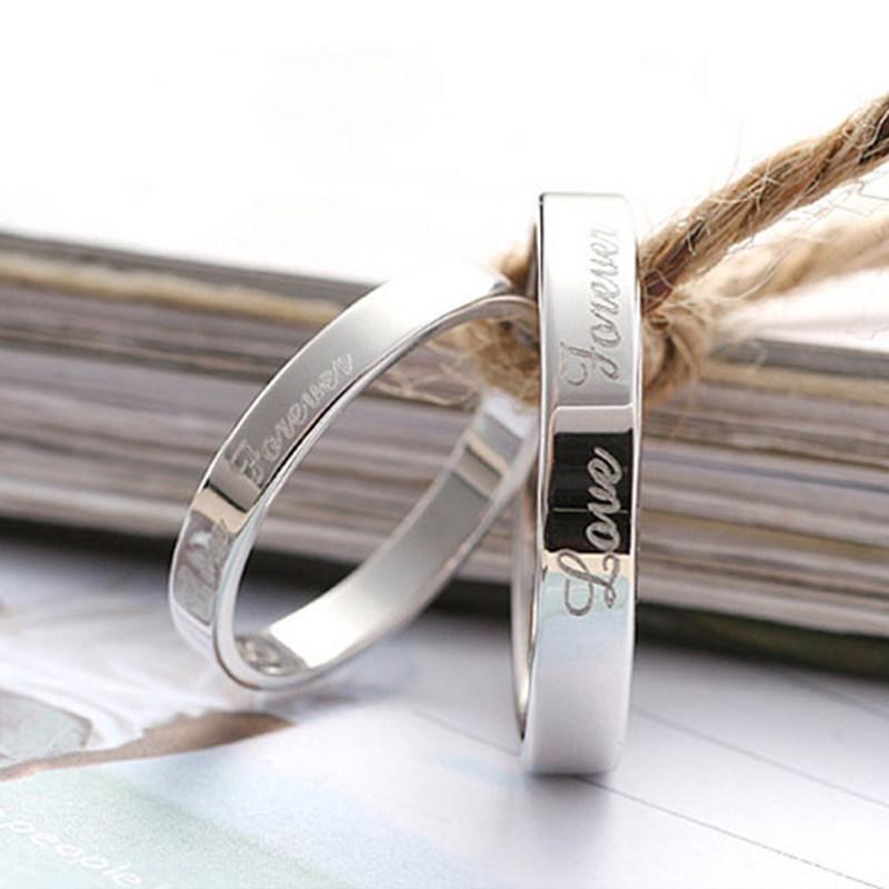 Love Forever Engraved Promise Rings For Couples