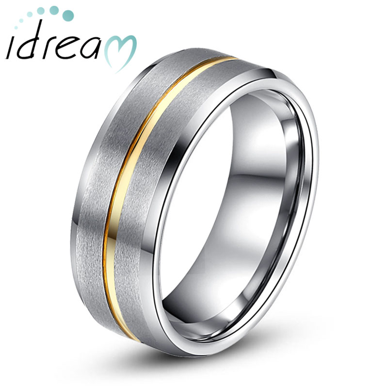 Beveled-Edge Tungsten Wedding Band, Gold Inlaid Tungsten Carbide Wedding Ring Band with Brushed Center - 6mm - 8mm, Matching Couples Jewelry Set for Him and Her