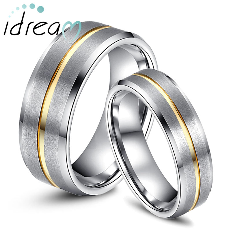 Beveled Edge Tungsten Wedding Bands Set Carbide Ring Band With Gold Inlaid