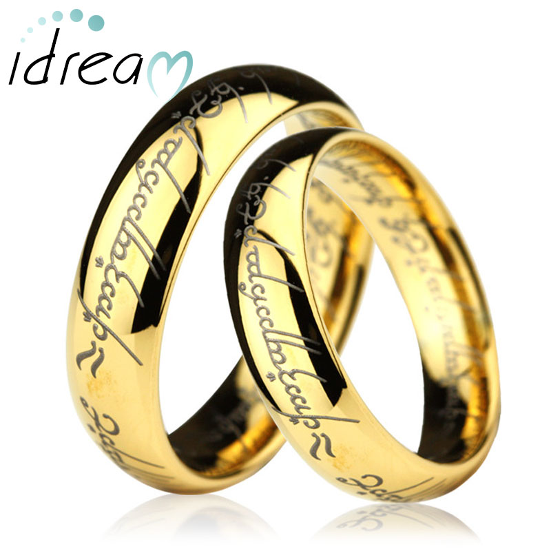 Gold LOTR Laser Engraved Tungsten Wedding Bands Set, Domed