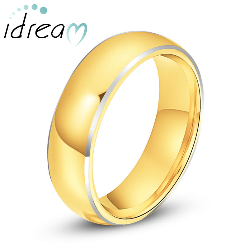 Gold Plated Tungsten Wedding Band for Women or Men, Domed Tungsten Carbide Wedding Ring Band with White Edges - 4mm - 8mm, Matching His and Hers Jewelry Set