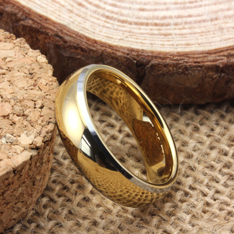 Gold Plated Tungsten Wedding Band For Women Or Men Domed Tungsten