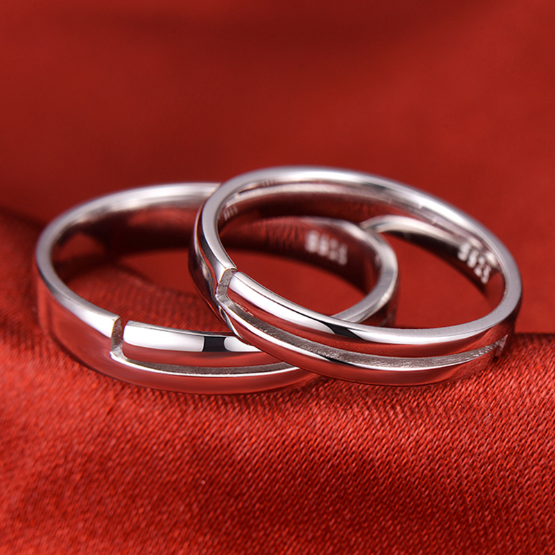 Heart + Heartbeat Engraved Adjustable Promise Rings Set