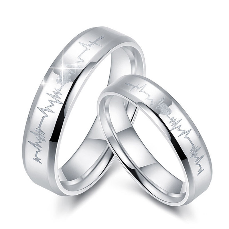 Heart And Heartbeat Engraved Promise Rings Set For Women Men Flat Sterling Silver Wedding