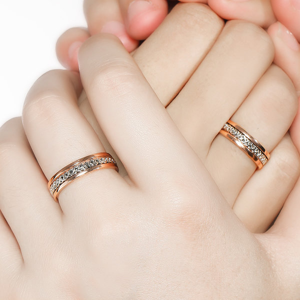 Silver Age Couples Rings Heart Knot Inlay Rose Gold Spinner Wedding