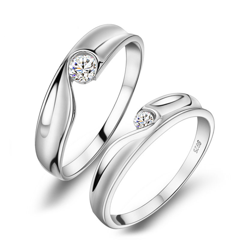 Engagement Rings For Couples: Two Half Hearts Puzzle Couple Rings Set For Women And Men