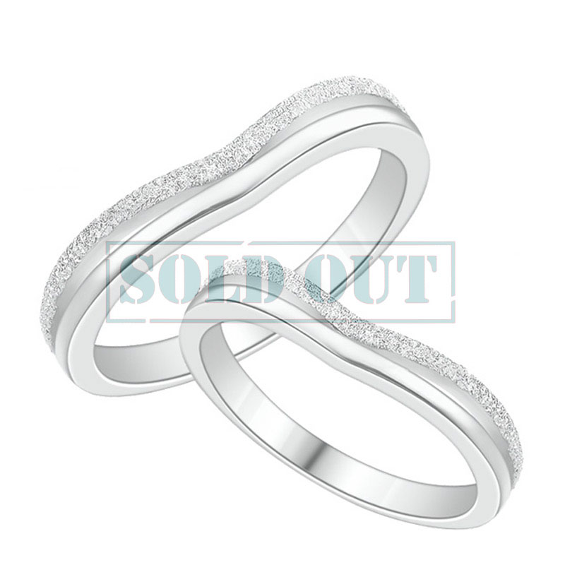 Excellent Hammered Finish Couple Heart Promise Rings Set for Women and Men  US88