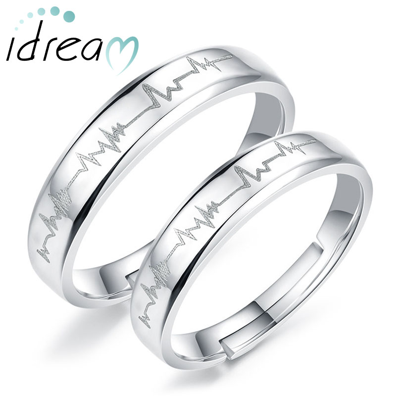heartbeat engraved adjustable promise rings for couples love heart wedding ring band in 925 sterling - Wedding Rings And Bands