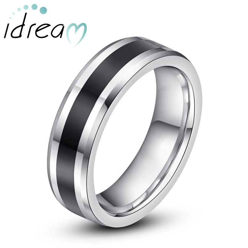 Two-Tone Tungsten Wedding Bands, Black Center Beveled-Edge Tungsten Carbide Wedding Ring Band for Men or Women - 6mm, Matching Couple Jewelry Set for Him and Her