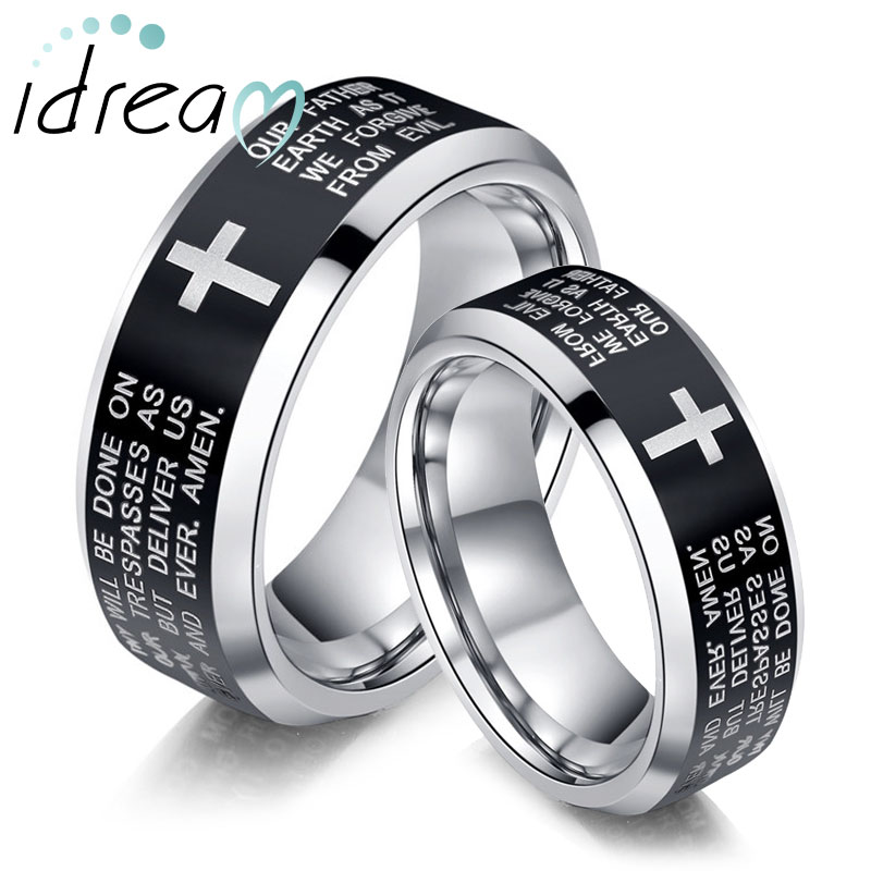 Holy Bible and Cross Laser Engraved Tungsten Wedding Bands Set, Tungsten Carbide Wedding Ring Band with Black Center & Beveled Edges, Matching Jewelry for Couples