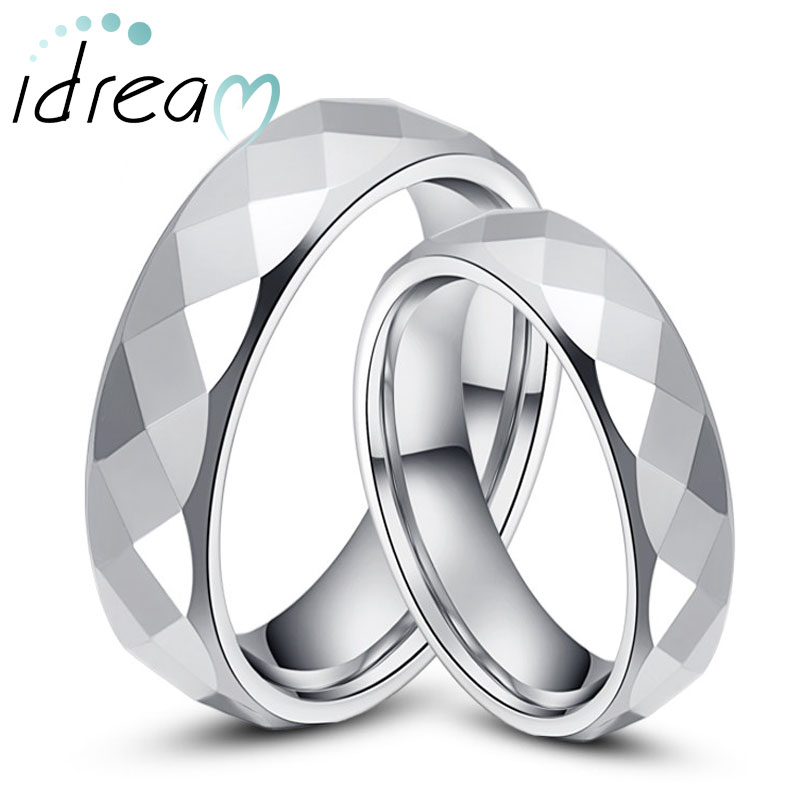 Tungsten Wedding Bands Set For Women Men Flat White Carbide Rings With