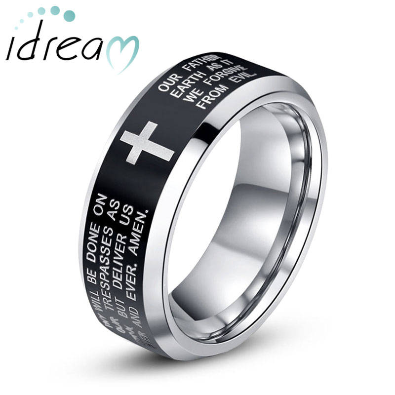 Holy And Cross Engraved Tungsten Wedding Bands Beveled Edge Black Center Carbide