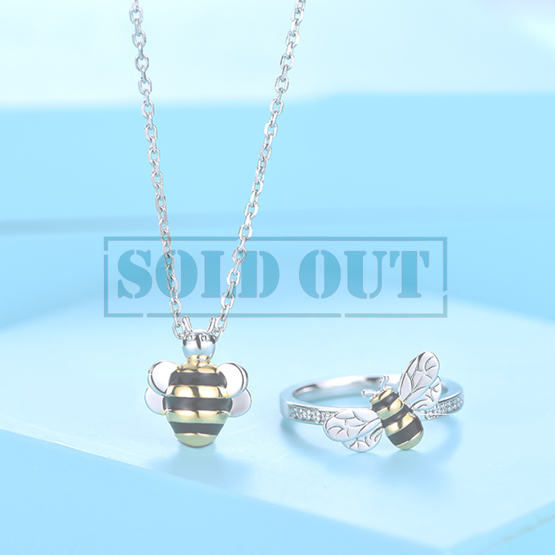 bee set pendant silver zirconia sterling cz jewellery with cubic wingspan bumble