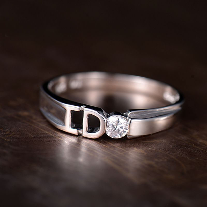 Yes I Do Promise Rings for Couples Unique Polished Sterling Silver
