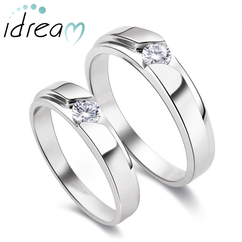 CZ Diamond Couple Rings Set for Men and Women Personalized