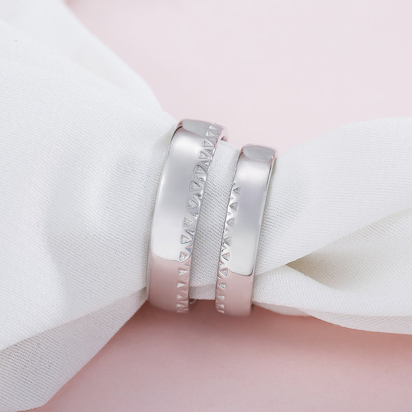 Silver Age Couples Rings Inside Rose Gold Heart Puzzle Wedding