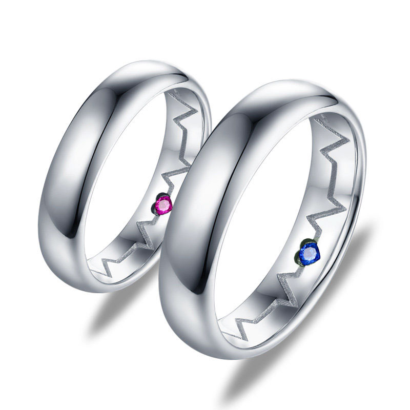 b3091cacaf9b2 Inside Heartbeat Engraved Promise Rings for Couples, Sterling Silver  Polished Domed Wedding Ring Band with Gemstone, Matching Couple Jewelry Set  for ...