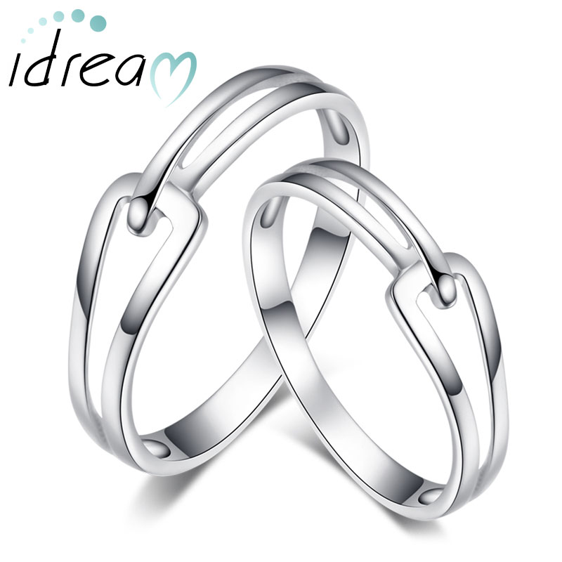 Amazing Interlocking Couple Promise Rings Set For Women And Men, Simple Cute Wedding  Ring Band In