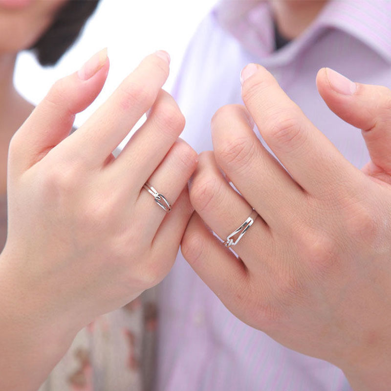 Interlocking Couple Promise Rings Set For Women And Men Simple