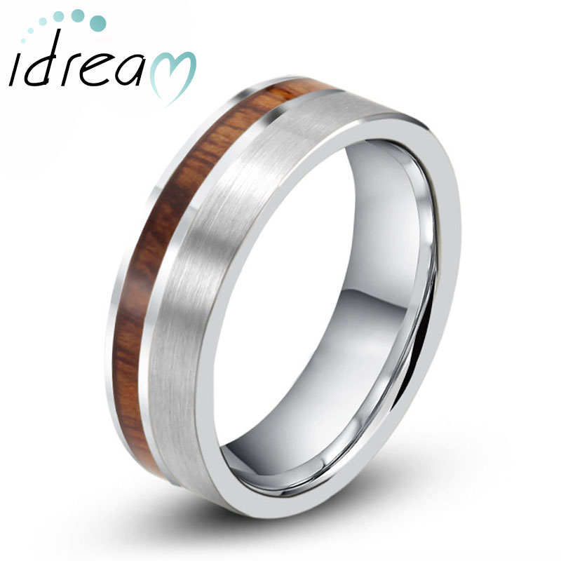 koa wood inlaid tungsten wedding band unique tungsten carbide wedding ring band with brushed center - Tungsten Wedding Rings
