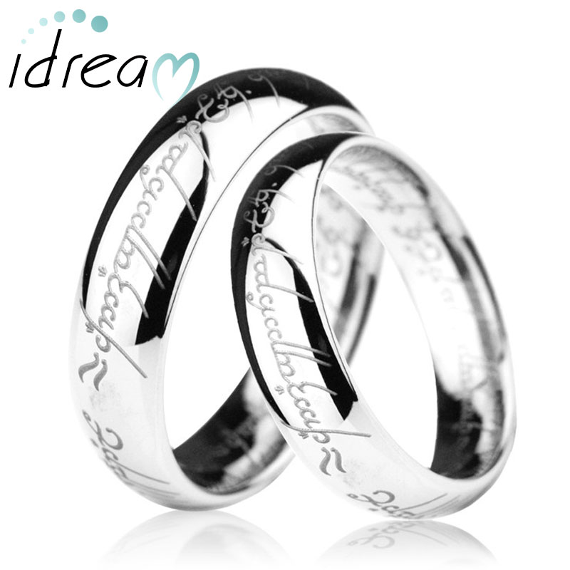 LOTR Laser Engraved Tungsten Wedding Bands Set, Domed Tungsten Carbide Lord of The Rings One Ring - 4mm - 8mm, Matching Couple Jewelry for Him and Her