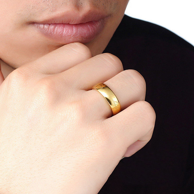 Gold Lord Of The Rings Tungsten Wedding Band For Men Or Women Carbide Lotr