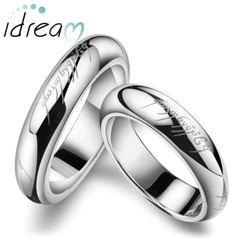 lotr laser engraved couple wedding bands for men and women lord of the rings one - Couples Wedding Rings