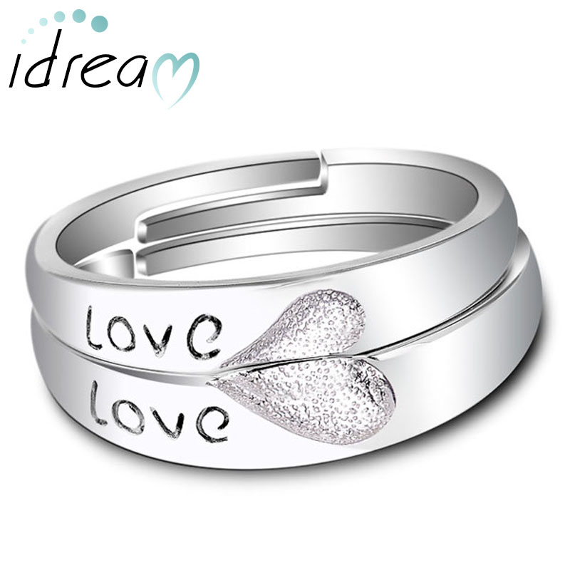 Love Engraved Two Half Hearts Puzzled Promise Rings for Couples