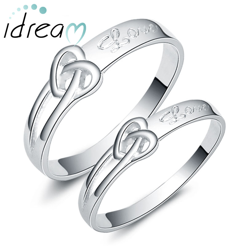 Heart Knot Love Engraved Promise Rings for Couples Cute Infinity
