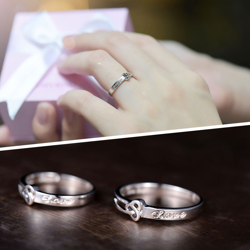 heart knot love engraved promise rings for couples cute
