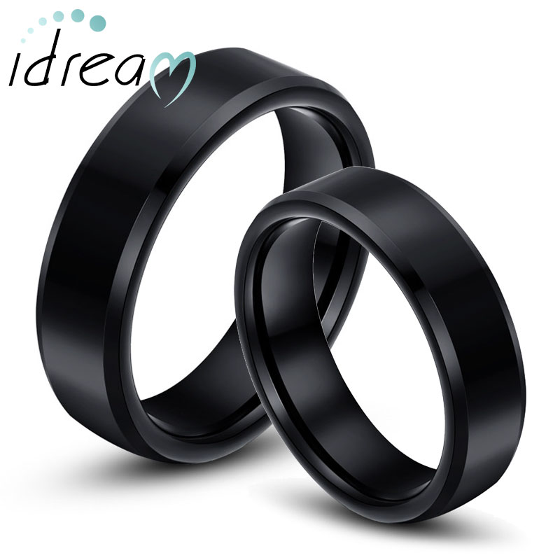Black Tungsten Wedding Bands Set Flat Beveled Edges Carbide For Men And