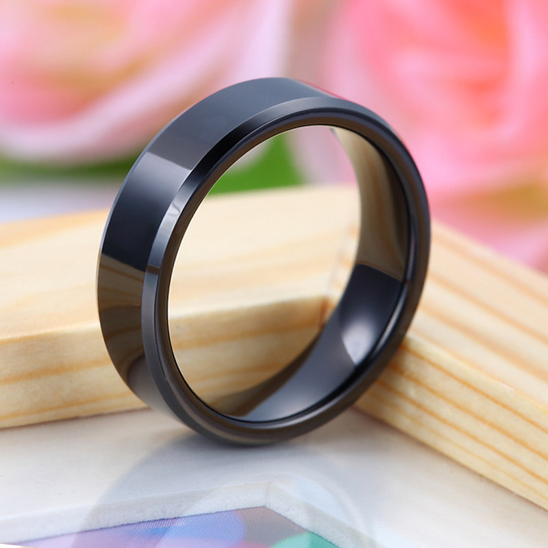 Black Tungsten Wedding Bands Set Flat Beveled Edges Carbide For Men And Women Personalized Ring
