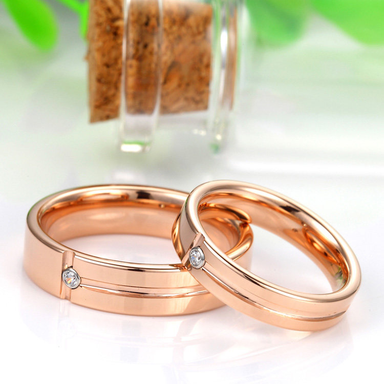 Rose Gold Tungsten Wedding Bands for Women and Men Tungsten Carbide Engageme