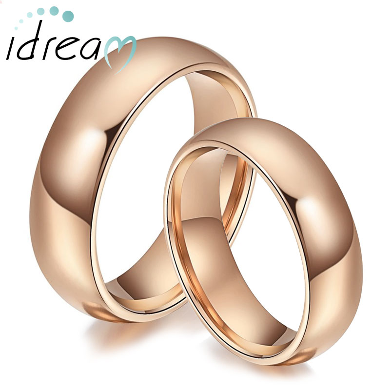 Rose Gold Plated Tungsten Wedding Bands Set Domed Rose Gold Gold