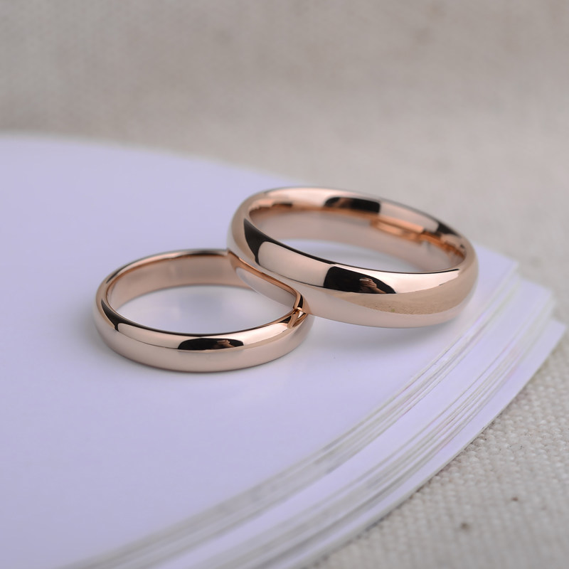 Rose gold plated tungsten wedding bands set domed rose for Wedding rings and bands