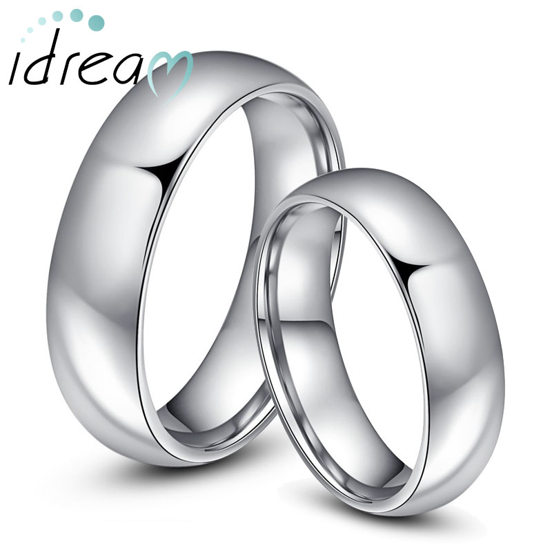 Tungsten Wedding Bands Set for Women and Men, Polished Tungsten Carbide Wedding Ring Band with Domed Profile - 4mm - 6mm, Matching His and Hers Jewelry for Couples