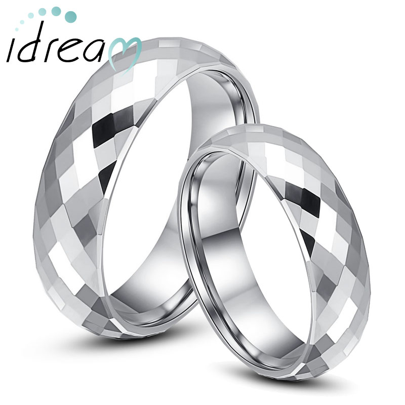 Domed Faceted Tungsten Wedding Bands Set for Women and Men, Engravable White Tungsten Carbide Wedding Ring - 2mm - 6mm, Matching His and Hers Jewelry for Couples