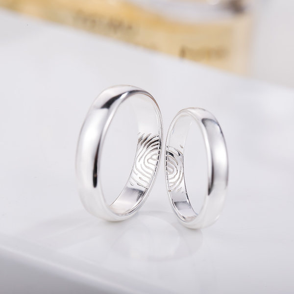 ... Silver Age Couples Rings, Inside Fingerprint Puzzle Wedding Bands Set,  Domed Promise Ring Band ...