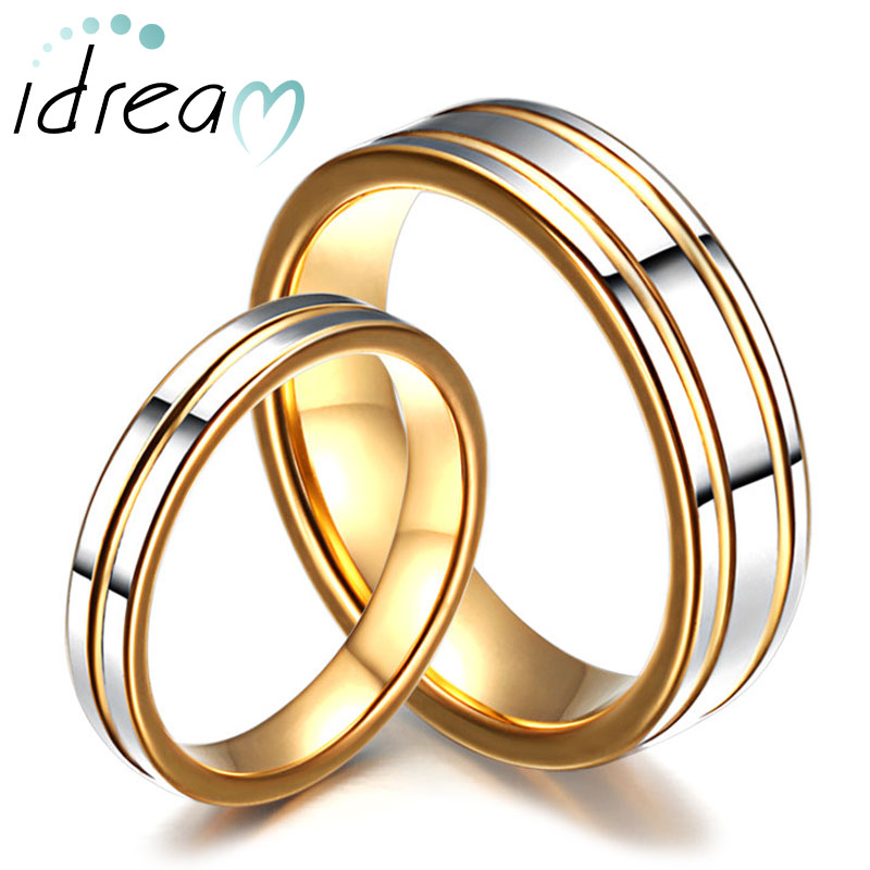 Two-Tone Tungsten Wedding Bands Set for Women and Men, Gold Tungsten Carbide Wedding Ring Band with Polished Center & Grooves, Matching Couple Jewelry for Him and Her