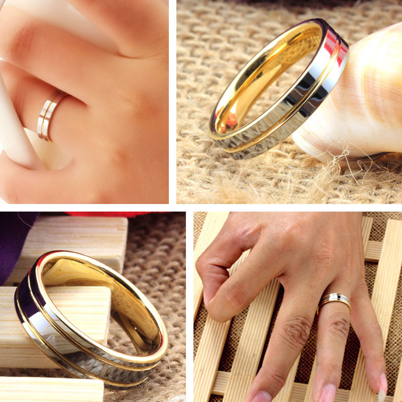 Two Tone Tungsten Wedding Bands Set For Women And Men Gold Carbide