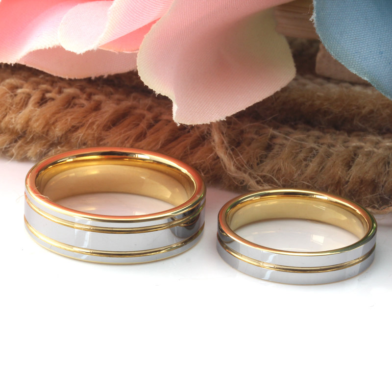 Two Tone Tungsten Wedding Bands Set for Women and Men Gold