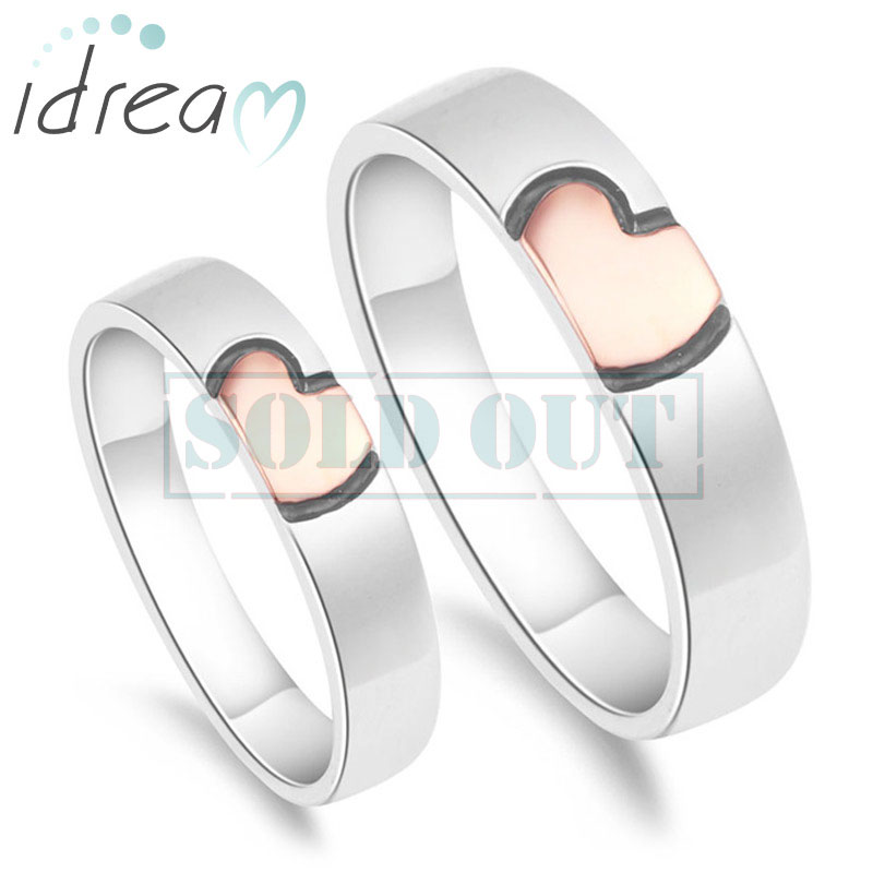 Rose Gold Pink Black Heart Couple Rings Set for Women and Men