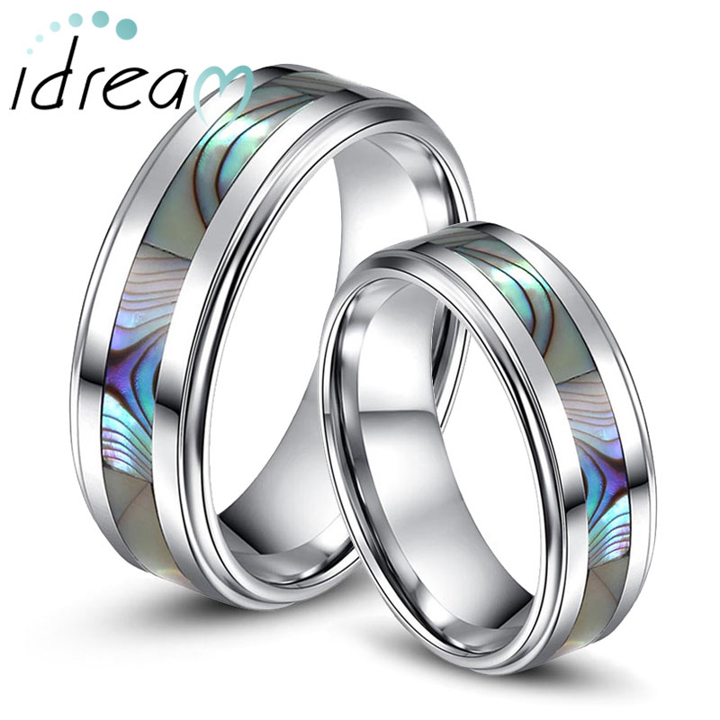 Mother of Pearl Inlaid Tungsten Wedding Bands Set for Women and Men