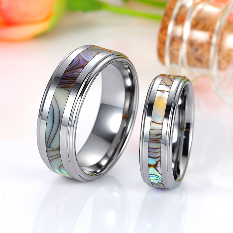 Mother of Pearl Inlaid Tungsten Wedding Bands Set for Women and Men ...