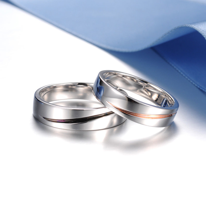 Blue Sweet Couple Rings Rose Gold Purple Plating Wave Wedding